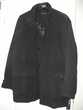 MENS COAT / JACKET by JAMES PRINGLE  WOOL SIZE XL  BLACK FULLY LINED EXC COND