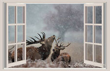 Deer & Snow Window View Repositionable Color Wall Sticker Wall Mural 3 FT