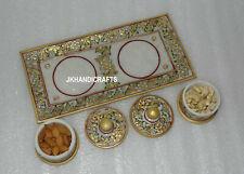 Marble Jaipur Raga Bowl Tray Set Dry Fruit Kitchen Decor Inlaid Beautiful Gifts