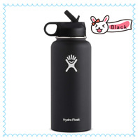 Hydro Flask Water bottle Stainless Steel,Insulated with Straw Lid- 32oz,Black