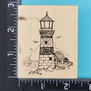 PSX Lighthouse Scene F-1145 Seagulls Sailboat Wood Mounted Rubber Stamp 1995