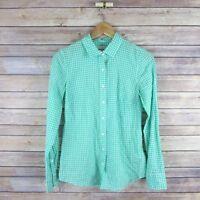 J CREW Women's Perfect Shirt Sz 00 Button L/S Green Gingham Blouse Top Cotton