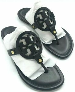 Tory Burch Miller Black  Leather Flat Classic Sandals Many size
