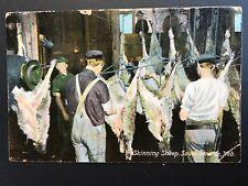 Postcard Omaha NE - Men Working in Slaughterhouse