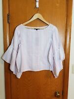de044fac02 Romeo+Juliet Couture Womens Top Blouse Peasant white pink striped size Large  NEW