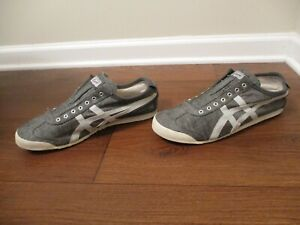 Used Size 11.5 Asics Onitsuka Tiger Mexico 66 Slip On Shoes Gray Cream
