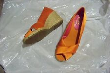 womens chaps orange fabric open toe wedge heels shoes size 7 1/2