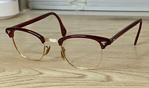 Vintage AO American Optical Sirmont Eyeglasses Red/Gold 1/10 12KGF As Is
