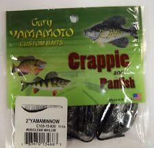 "GARY YAMAMOTO CRAPPIE PANFISH 2"" MINNOW BLACK CLEAR HOLOGRAM  3X 15 PACKS 45 TOT"