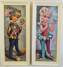 Vintage GOJI Framed Big Eye 1960s Harlequin Clown Jester Ballerina Prints 2