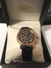 ROTARY WATCH Men's Rose Gold and Black Chronograph Leather Strap GS03710/10 New