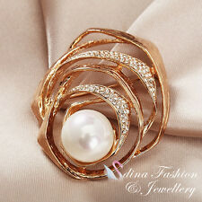 18K Rose Gold Plated Made With Swarovski Created Pearl Luxury Crossover Brooch