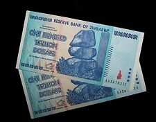 2 x Zimbabwe 100 Trillion Dollar banknotes-aUnc paper money currency