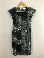 Ojay Womens Dress Size 8 Grey Black White Straight Stretch Work