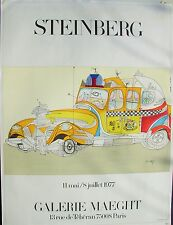 Steinberg Taxi Poster Galerie Maeght unique poster 1977 Litho w/Foil
