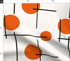 Retro Orange Dots 1960s Mid Century Modern Lines Spoonflower Fabric by the Yard