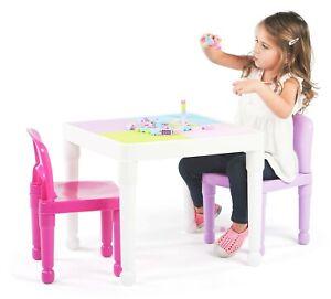 2-in-1 Kids Children  Plastic Activity Table & 2 Chair Set, White, Pink & Purple