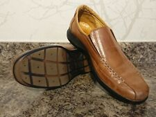 Pavers brown genuine leather slip on walking natural comfort loafer shoes UK 8