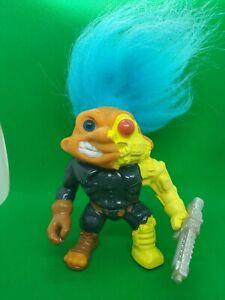 Battle Trolls Trollminator 1992 Terminator Blue Hair Glow in the dark WITH GUN!
