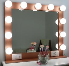 Rose Gold Glitter 32 X 28 Hollywood Style Lighted Vanity Makeup Mirror