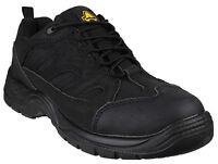 Amblers FS214 Safety Mens Black Steel Toe Cap Industrial Work Trainers UK4-13