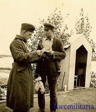**RARE! German Soldier w/ Feldgendarmerie Neck GOGET Checking Papers; Poland!**