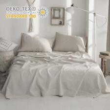 Biselina Belgian Linen Flat Sheet 55% Linen 45% Cotton Basic Style Solid Color F