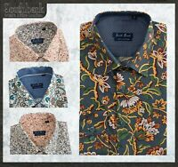 MEN'S SHIRT SLIM FIT LIBERTY FLORAL VINTAGE PRINTED COTTON LONG SLEEVE NAVY BLUE