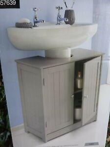 GREY-Panel 2 Door Bathroom Under Sink Cabinet 60x60x30Undersink(C)FreeUKPOST