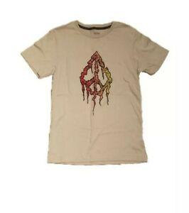 Boys Volcom Shirt Medium 10 12 Brown Peace Sign New with Tag
