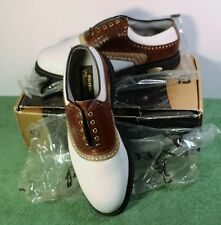 NEW IN BOX Mens 9.5 D M FootJoy Classics Tour Style 51858 White/Brown Golf Shoes