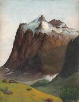 WETTERHORN SWITZERLAND Watercolour Painting c1930 MOUNTAIN LANDSCAPE