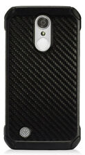 Black Carbon Fiber Rugged TPU Case Cover for LG Aristo 2 Plus Tribute Dynasty