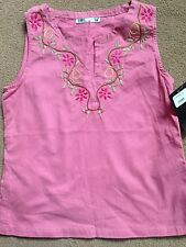 BNWT Zara Girls Pink Embroidered Sleeveless Top 12-13 Years
