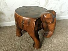 Hand Carved Wooden Elephant Plant Stand/Table Stool
