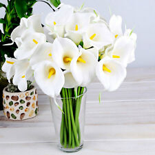 10Pc White Artificial Latex Calla Lily Flowers Wedding Home Party Decor Bouquet
