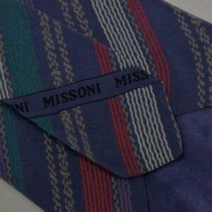 Purple Green Striped MISSONI Silk Tie