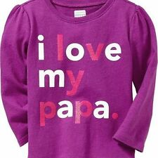 """Old Navy """"I Love My Papa"""" Long Sleeves Graphic Tee (GBON-TS 04) – Purple Size 3T"""
