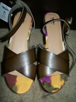 Mossimo Wedge Flatform Vegan Leather Abstract Criss Cross Ankle Strap Size 7.5