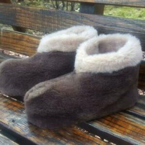 AUTHENTIC BROWN WOMEN'S SHEEPSKIN SHEEP WOOL LOW SLIPPERS ANKLE BOOTS