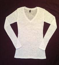 New women's long sleeve v-neck t-shirt white burnout cotton blend size XS or L