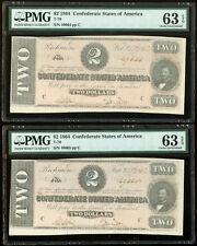 1864 $2 Confederate States of America T-70 Consecutive Notes PMG 63 EPQ