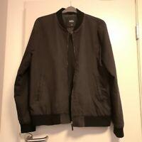 Burton Menswear London Black Bomber Jacket Mens XL Indie Vintage Great Condition