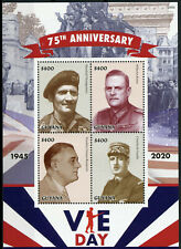 More details for guyana military stamps 2020 mnh wwii ww2 ve day de gaulle roosevelt 4v m/s