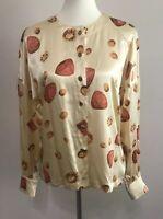 Escada by Margaretha Ley 100% Silk  Vintage Gem Stone Blouse Size EUR 40/10