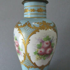 Antique HP Petite French SEVRES Porcelain Boudoir Lamp FLOWERS Ornate GILT Paste