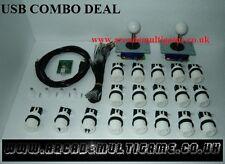 Controlador de Arcade Joystick USB para PC y reproductor de PS3 (2) 16 X Juego De Botones Blancos