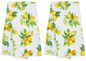 """Lot of 2 Kitchen Hand Dish Tea Towels With Lemon Motif 100 % Polyester 12""""x25"""""""