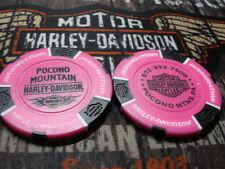 Harley Neon Pink & White Poker Chip Pocono  Harley Davidson Pocono Mountains, PA
