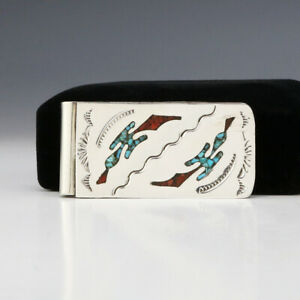 NATIVE AMERICAN NAVAJO TURQUOISE & CORAL MONEY CLIP BY JOLENE YAZZIE